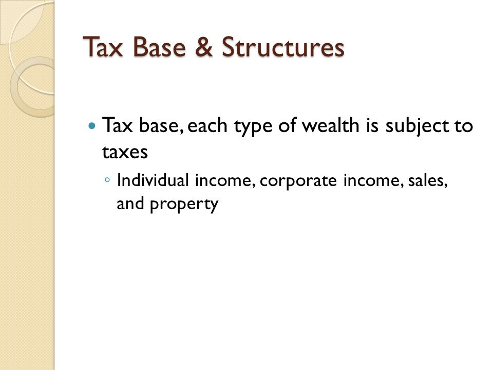 Tax Base & Structures Tax base, each type of wealth is subject to taxes.