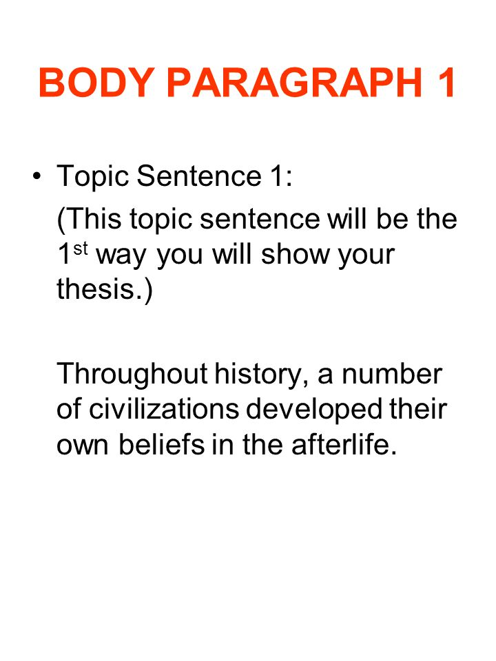Essay body paragraph topic sentence