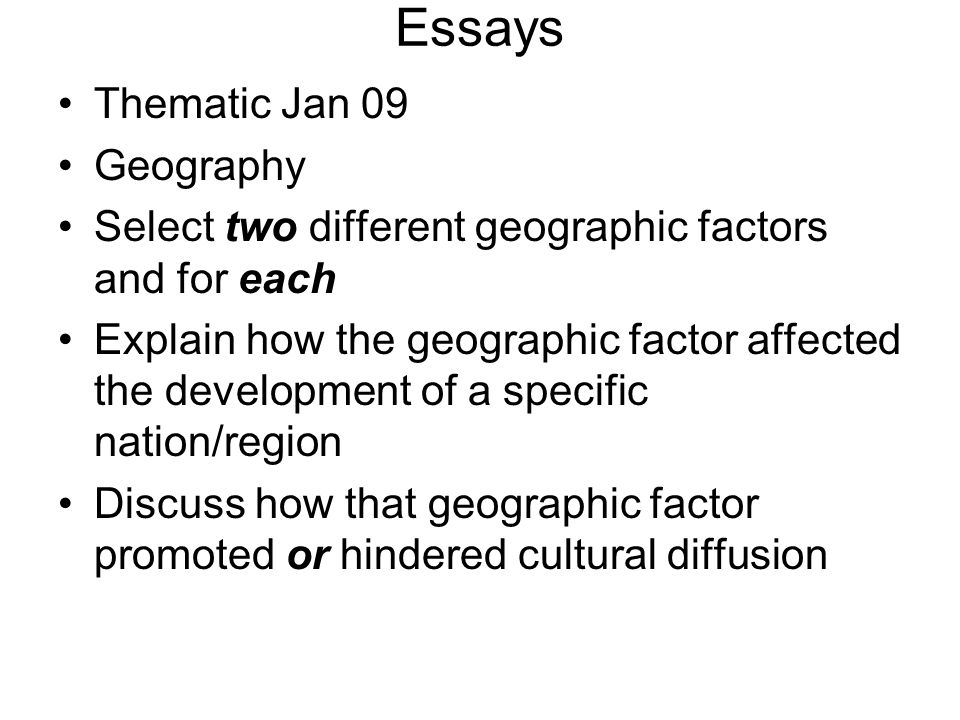 Essays Thematic Jan 09 Geography