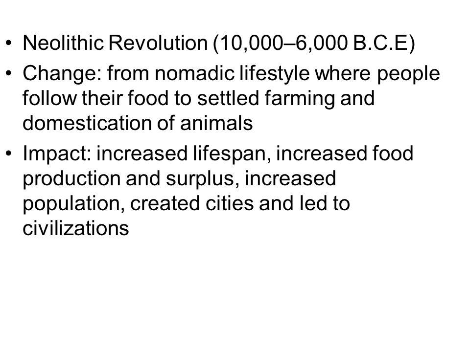 Neolithic Revolution (10,000–6,000 B.C.E)