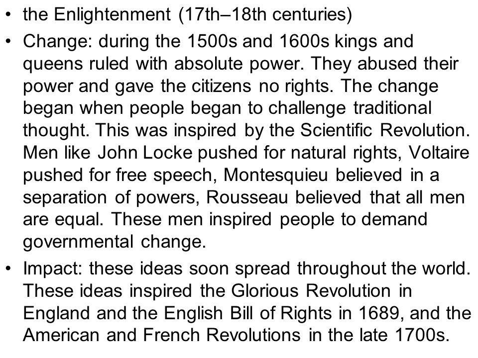 the Enlightenment (17th–18th centuries)
