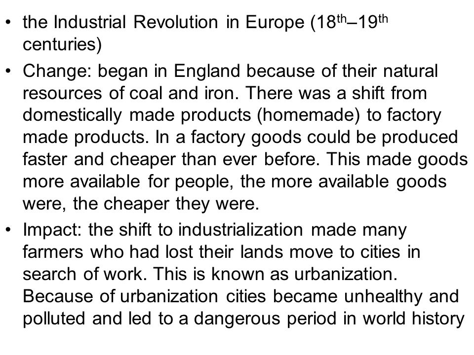 the Industrial Revolution in Europe (18th–19th centuries)