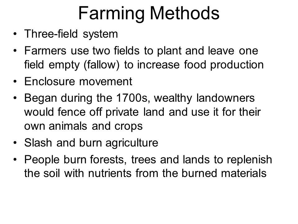 Farming Methods Three-field system