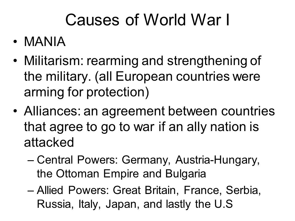 Causes of World War I MANIA