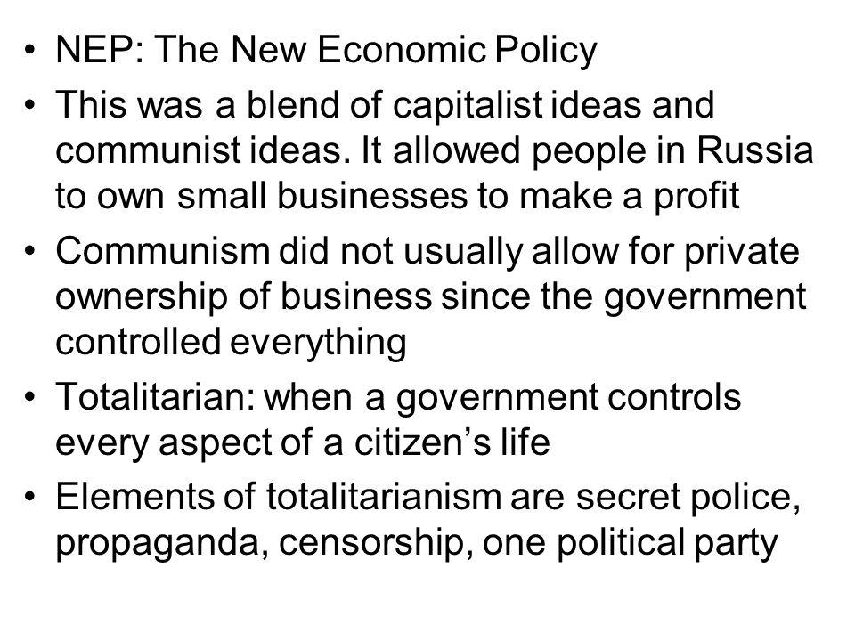 NEP: The New Economic Policy