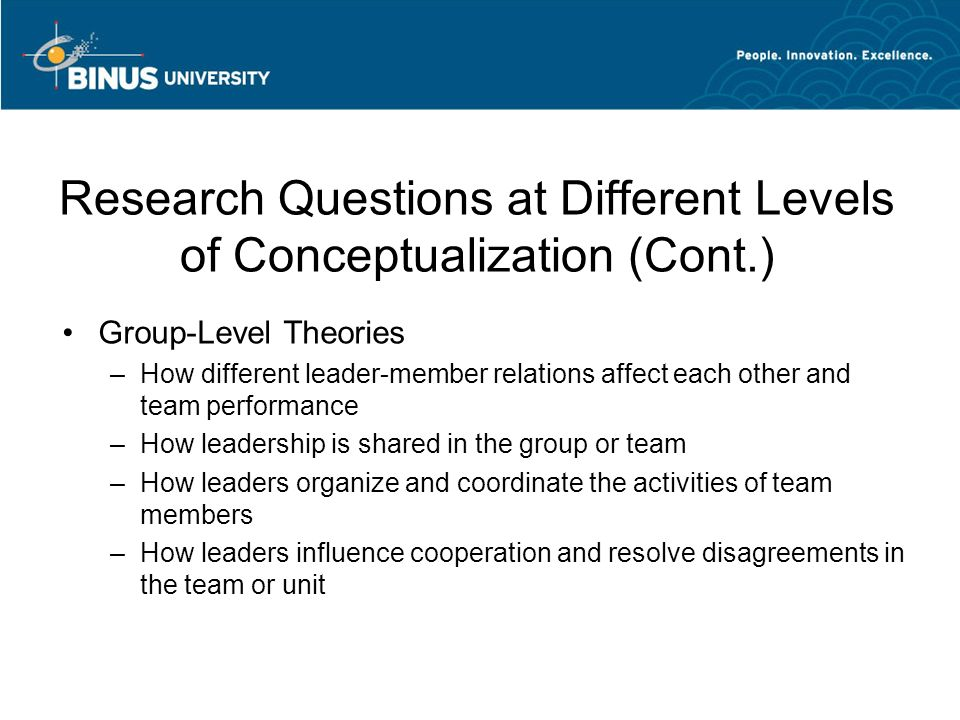 four levels of conceptualization for leadership theories