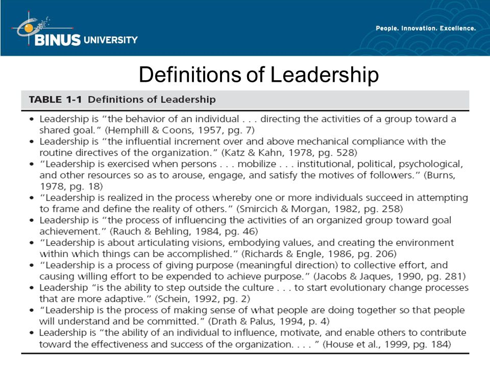 a description of the definite definition of leadership Definition & meaning of leadership in the various definitions of leadership the emphasis is on the leader koontz & weihrich define leadership as.