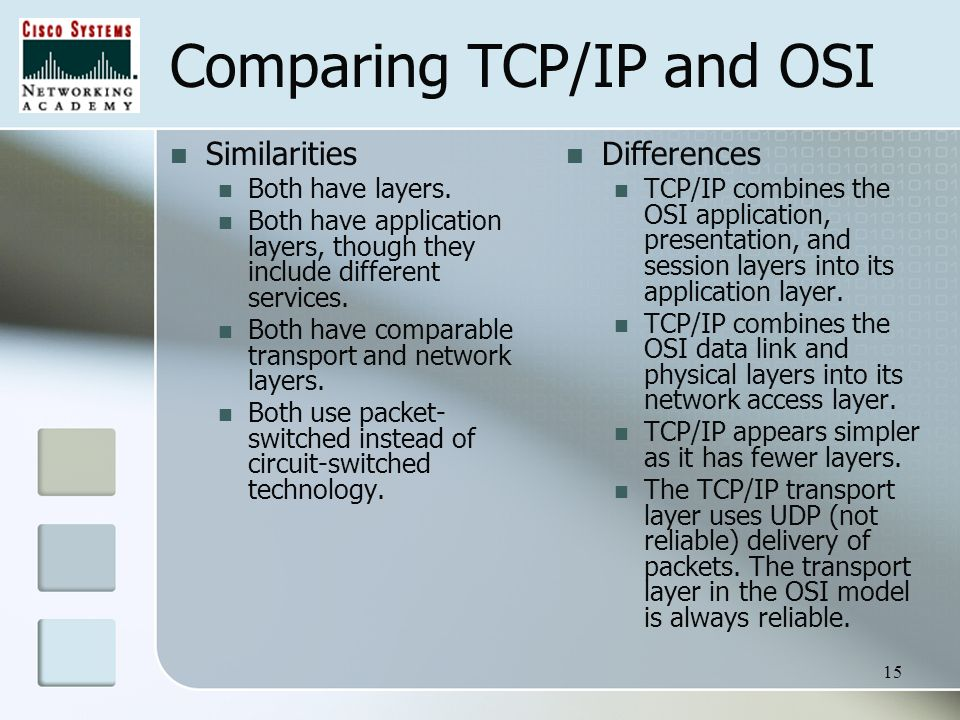 comparison of the osi and tcp Distributed applications services, whether osi or tcp/ip based, have some  common  when compared to the osi reference model, the tcp/ip model.