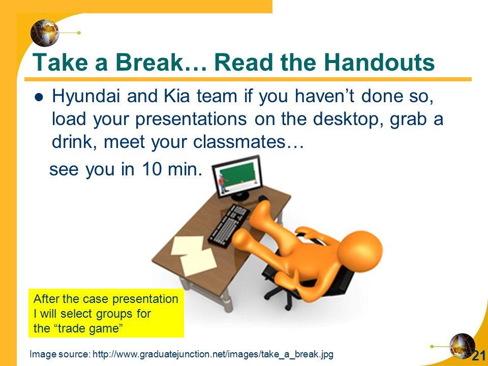 Take a Break… Read the Handouts