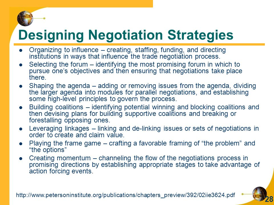 Designing Negotiation Strategies