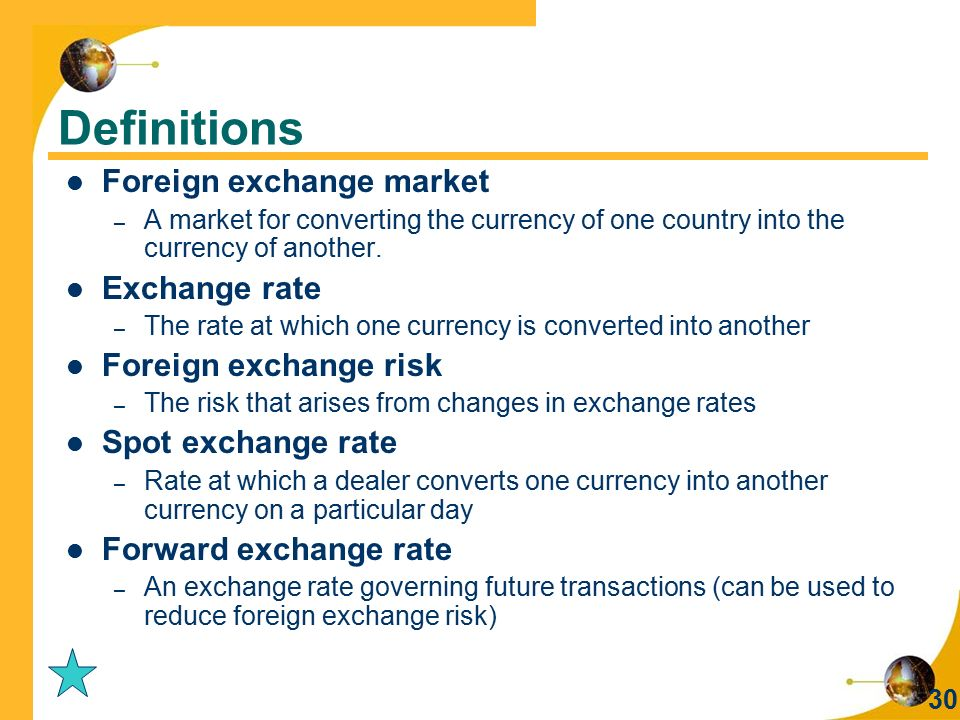 Definitions Foreign exchange market Exchange rate