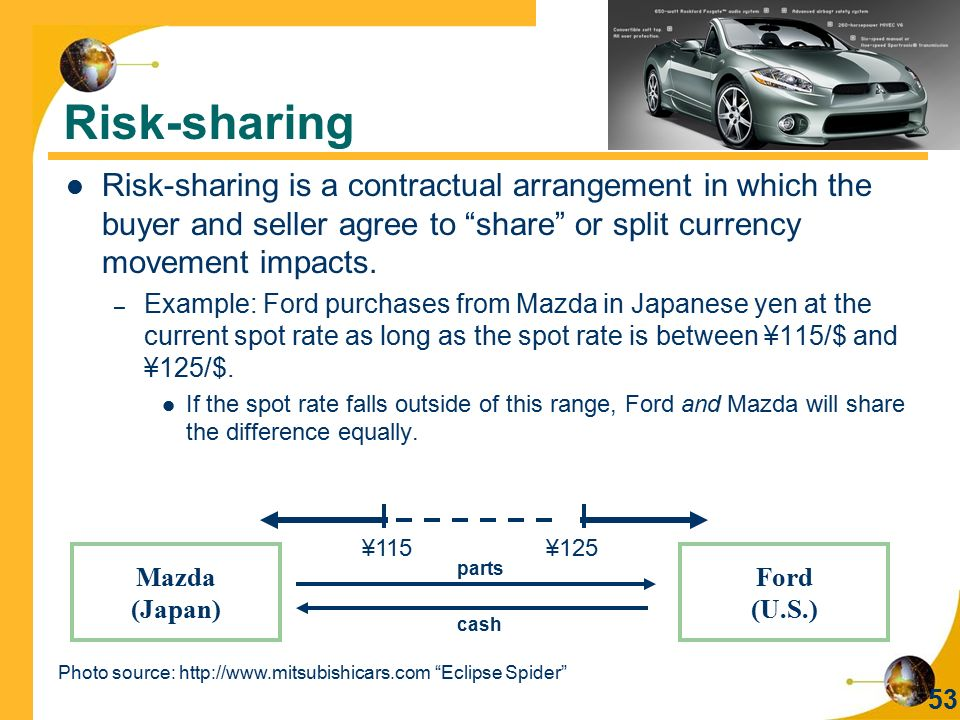 Risk-sharing Risk-sharing is a contractual arrangement in which the buyer and seller agree to share or split currency movement impacts.