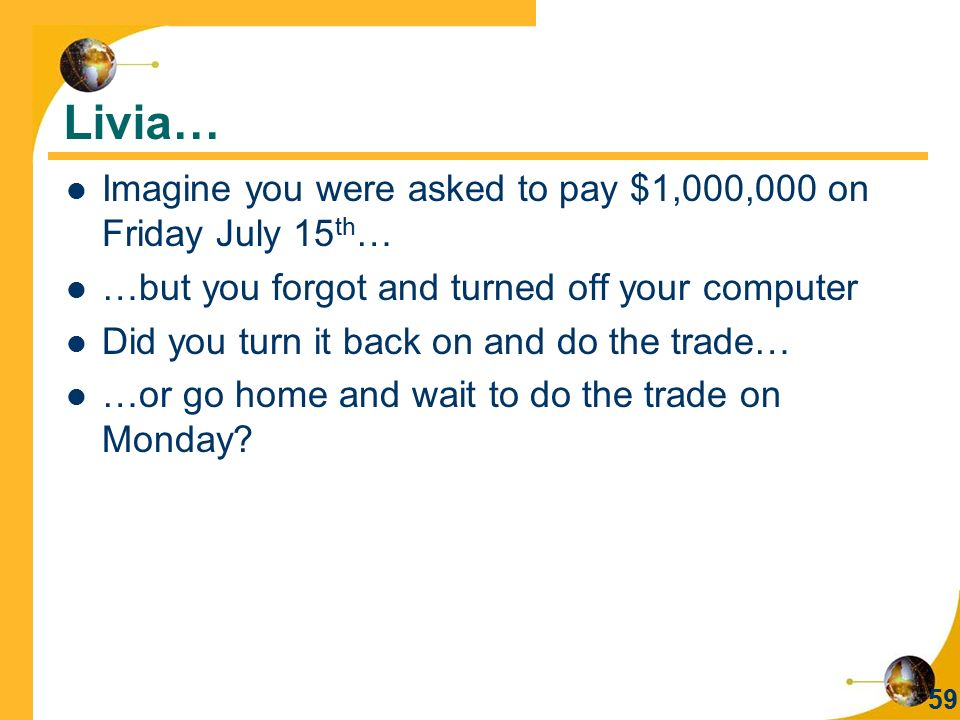Livia… Imagine you were asked to pay $1,000,000 on Friday July 15th…