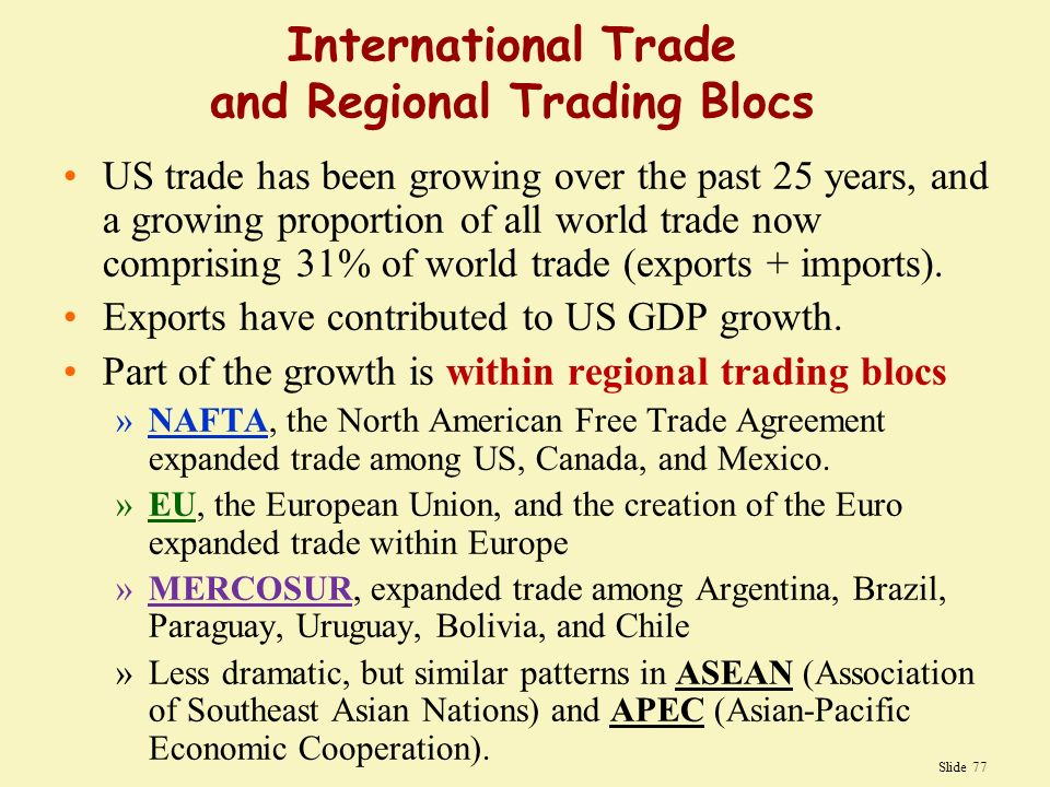 international business regional trade blocs A regional trading bloc is a group of countries within a geographical region that protect themselves from imports from non-members trading blocs increasingly shape the pattern of world trade there are two types, free trade areas and customs unions.