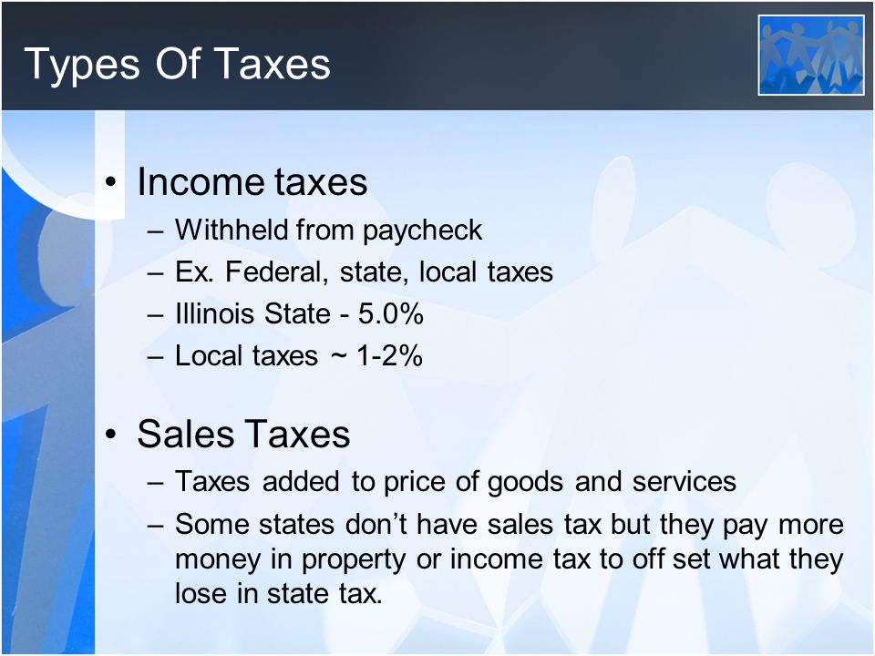 Types Of Taxes Income taxes Sales Taxes Withheld from paycheck