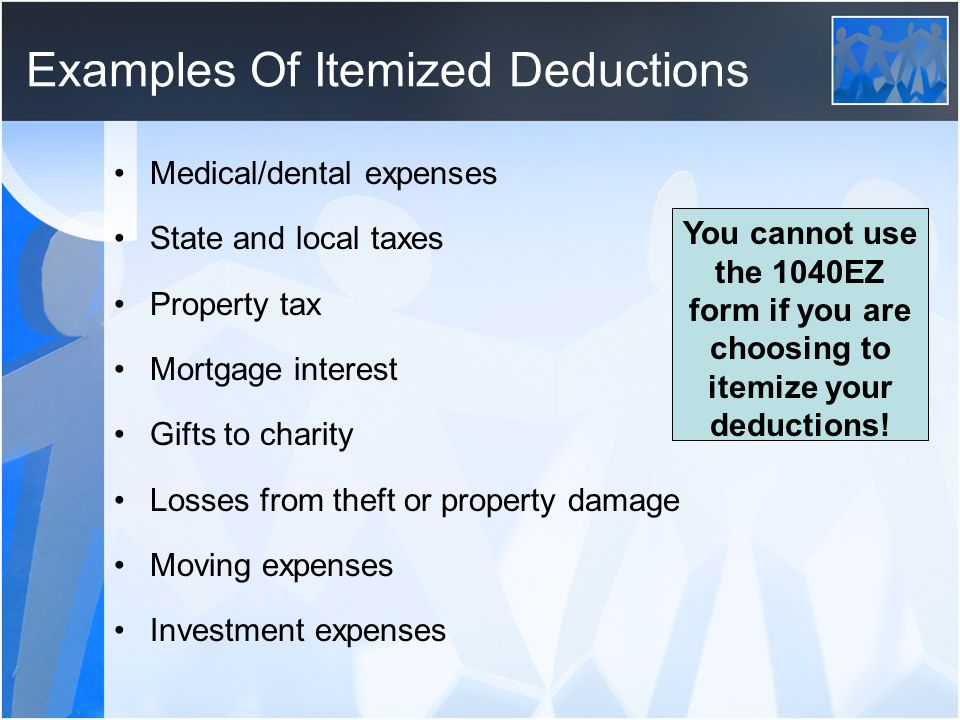 Examples Of Itemized Deductions