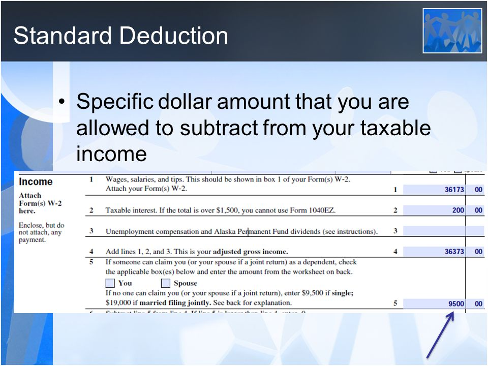Standard Deduction Specific dollar amount that you are allowed to subtract from your taxable income
