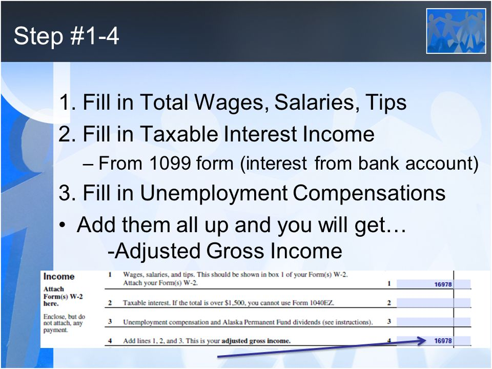 Step # Fill in Total Wages, Salaries, Tips