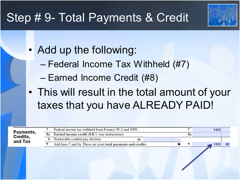 Step # 9- Total Payments & Credit