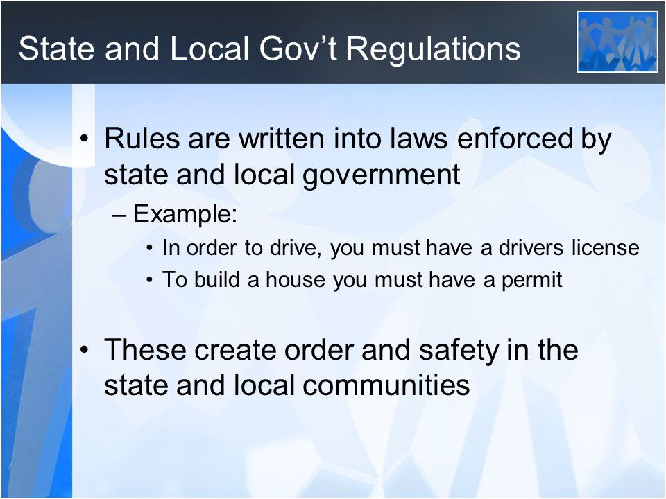 State and Local Gov't Regulations