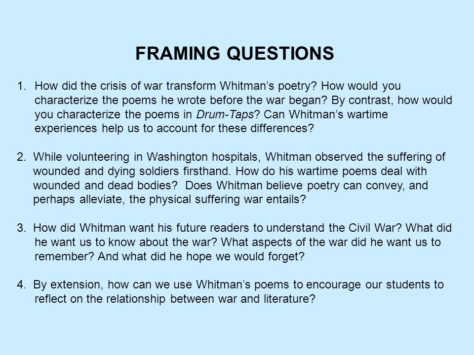 WALT WHITMAN'S CIVIL WAR POETRY - ppt video online download