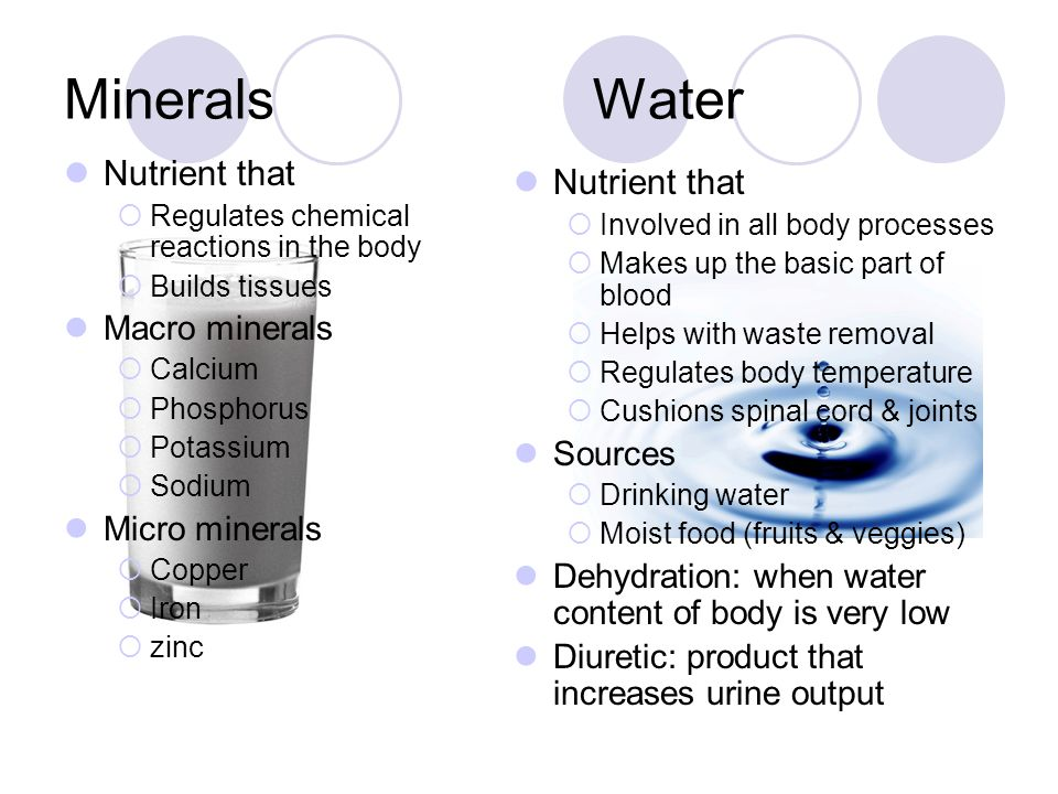 Minerals Water Nutrient that Nutrient that Macro minerals Sources