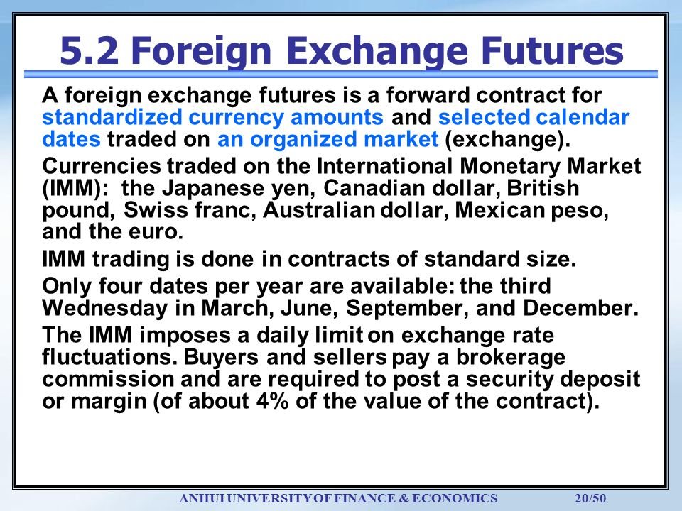 futures contract and exchange rate Because a forward or futures contract involves delivery and settlement at a future  date, the forward/futures and spot exchange rates will be.