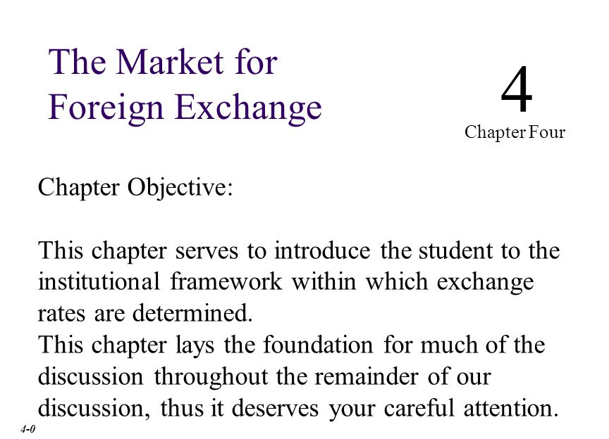 Chapter Outline The Spot Market: involves almost the immediate purchase or sale of foreign exchange.