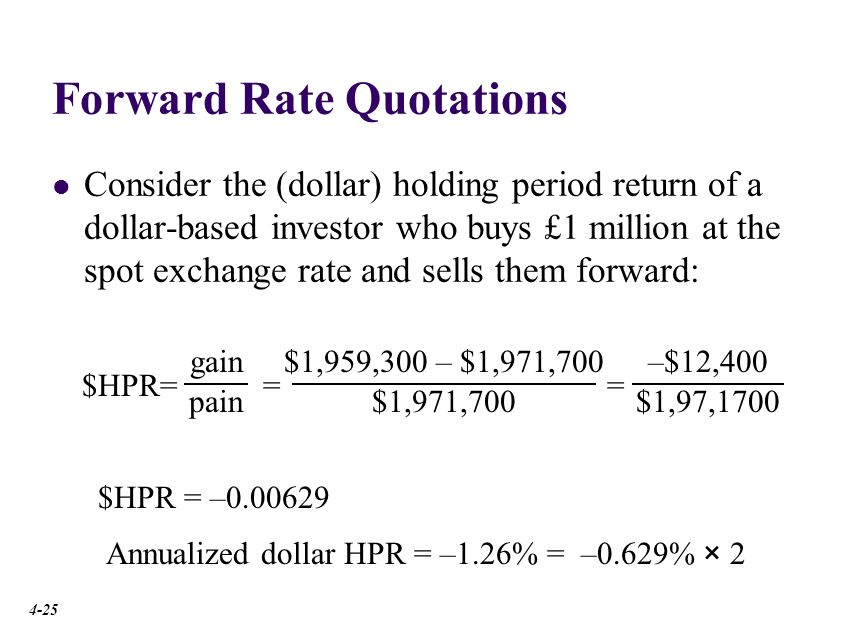 Forward Premium The interest rate differential (r $ - r€) implied by forward premium or discount. See Ch. 6 IRP approximation.