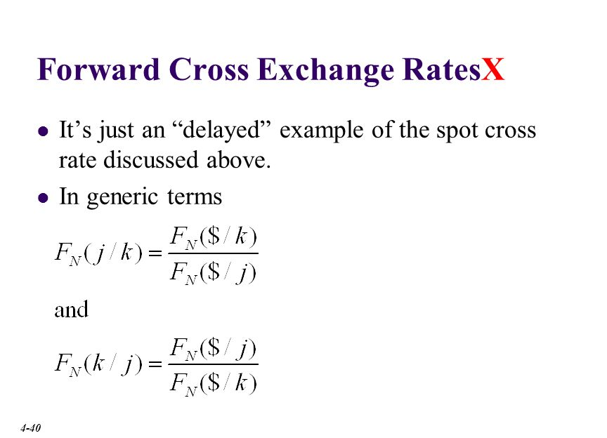 Forward Cross RatesX The 3-month forward €/£ cross rate is € 1.3336