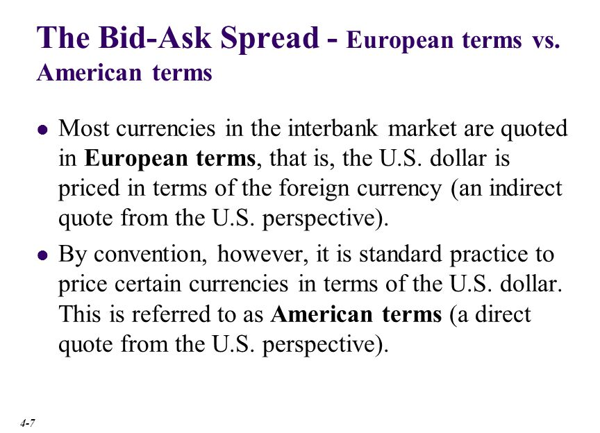 The Bid-Ask Spread big figure small figure USD Bank Quotations