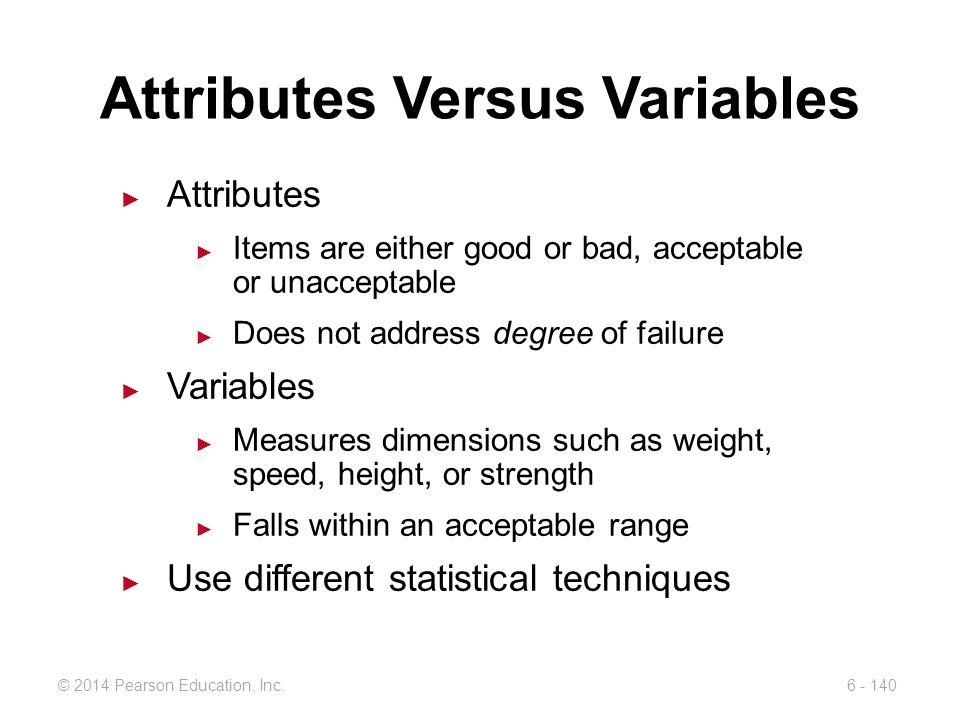 Attributes Versus Variables