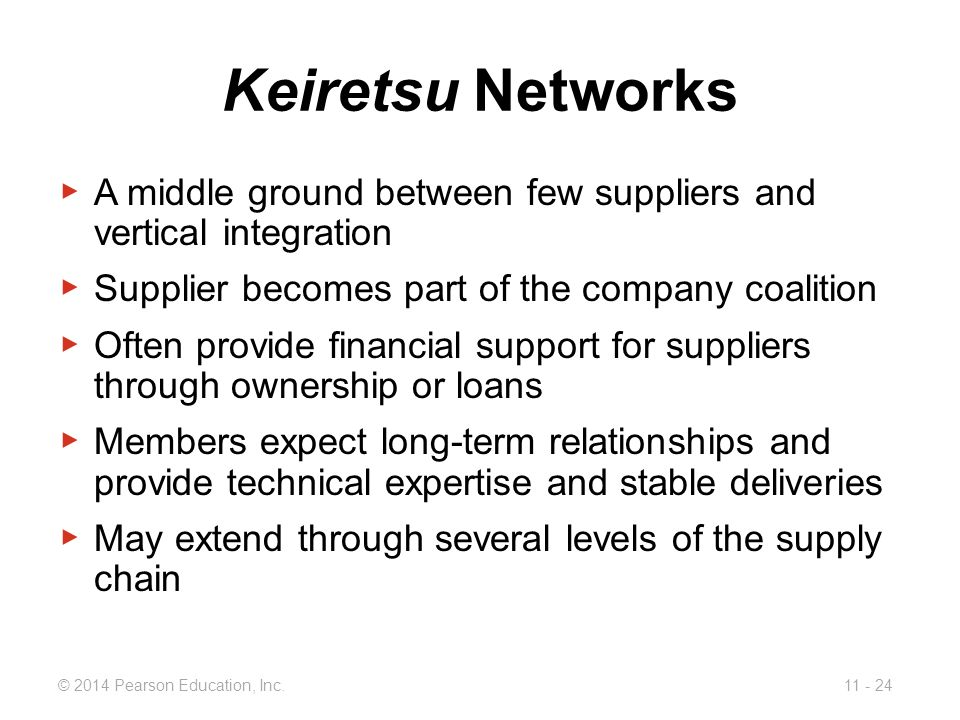 Keiretsu Networks A middle ground between few suppliers and vertical integration. Supplier becomes part of the company coalition.