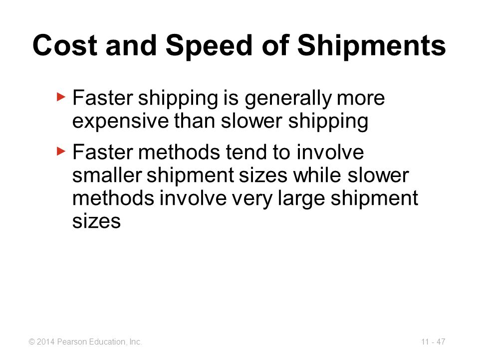 Cost and Speed of Shipments