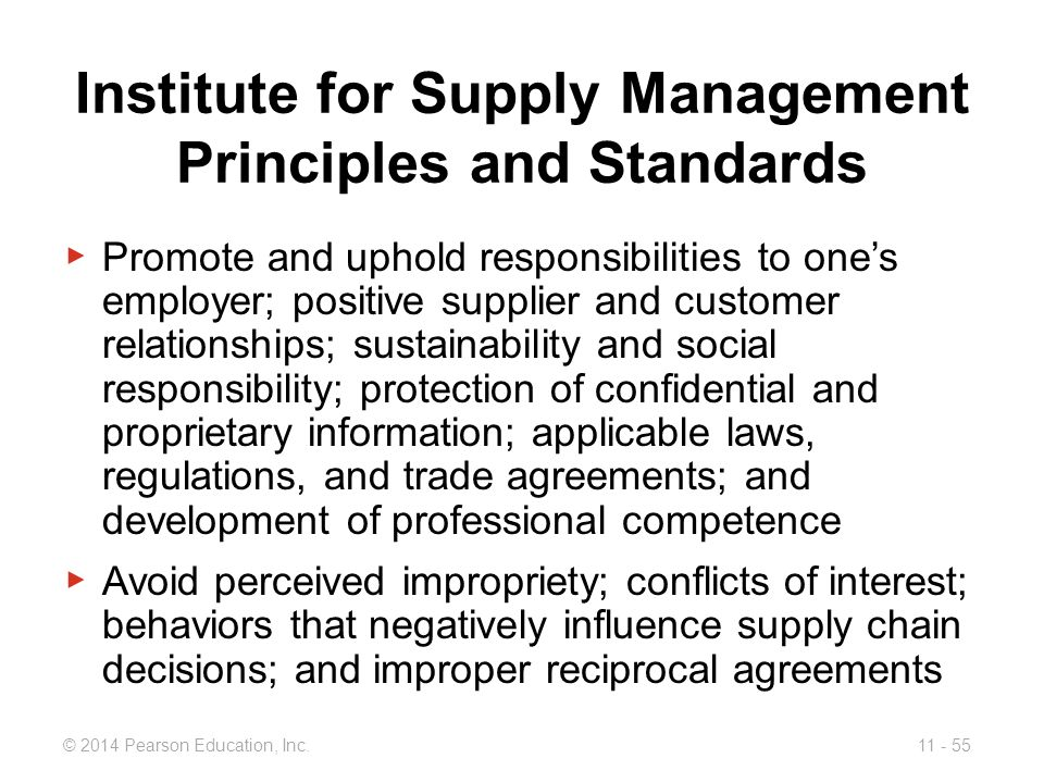 Institute for Supply Management Principles and Standards
