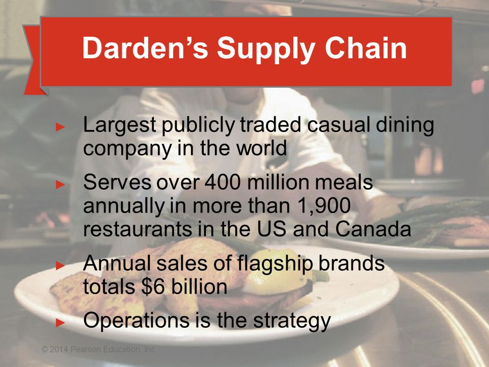 Darden's Supply Chain Largest publicly traded casual dining company in the world.