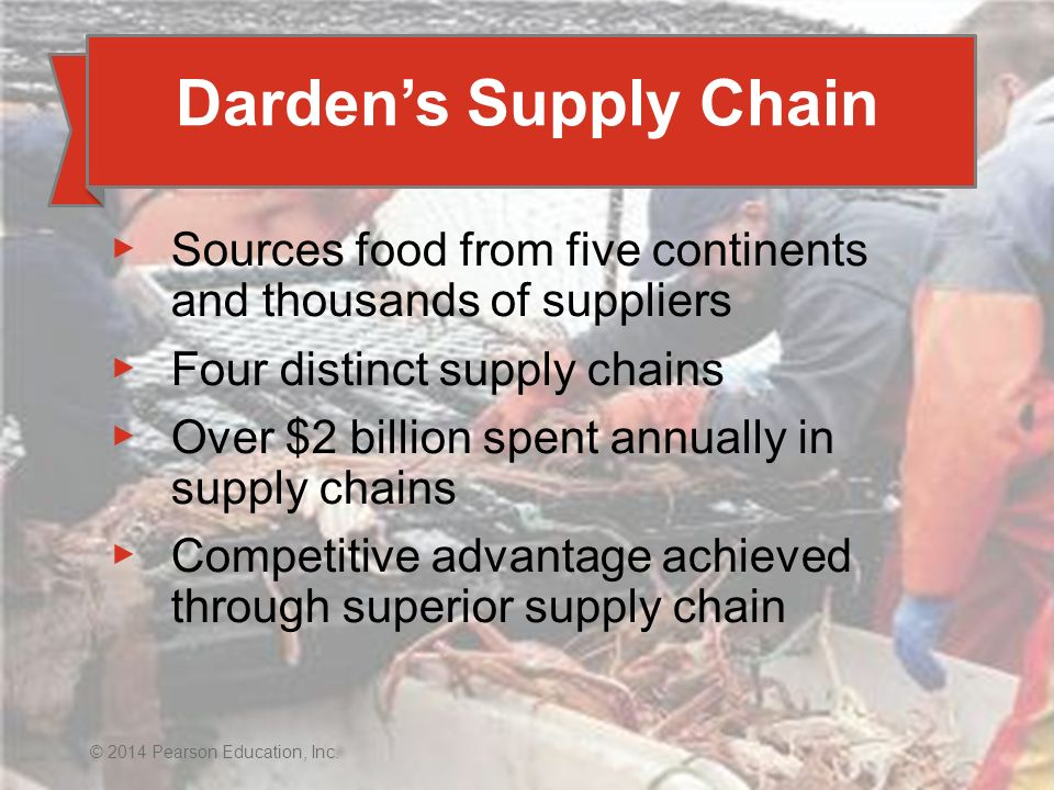 Darden's Supply Chain Sources food from five continents and thousands of suppliers. Four distinct supply chains.