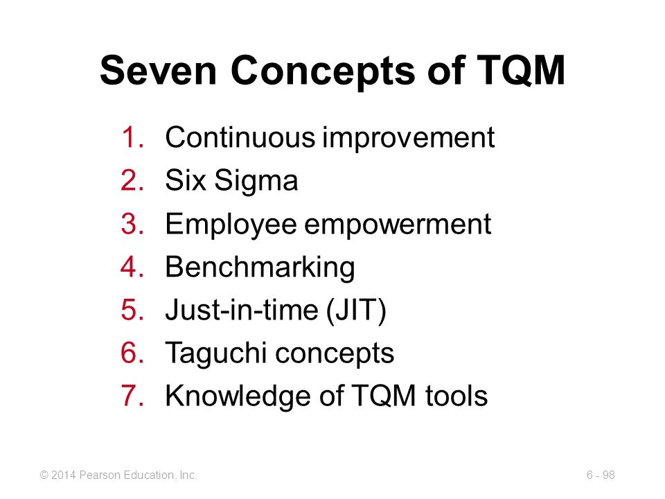 Seven Concepts of TQM Continuous improvement Six Sigma