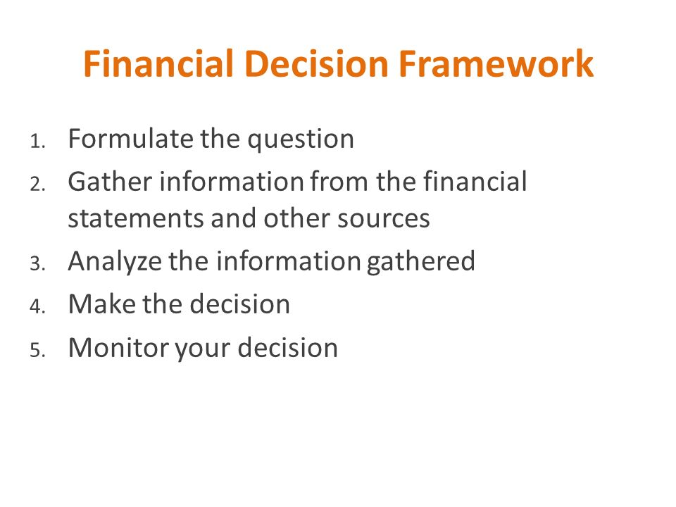 Financial Decision Framework