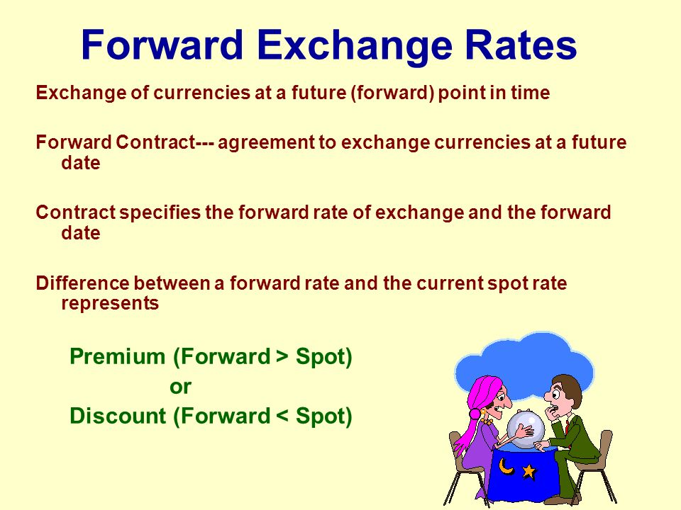 "the future of the foreign exchange In the option market, they enter a contract that allows one party to buy or sell foreign exchange in the future, but does not require it (thus the word ""option"") most of the trading is among banks, either on behalf of customers or on their own account."