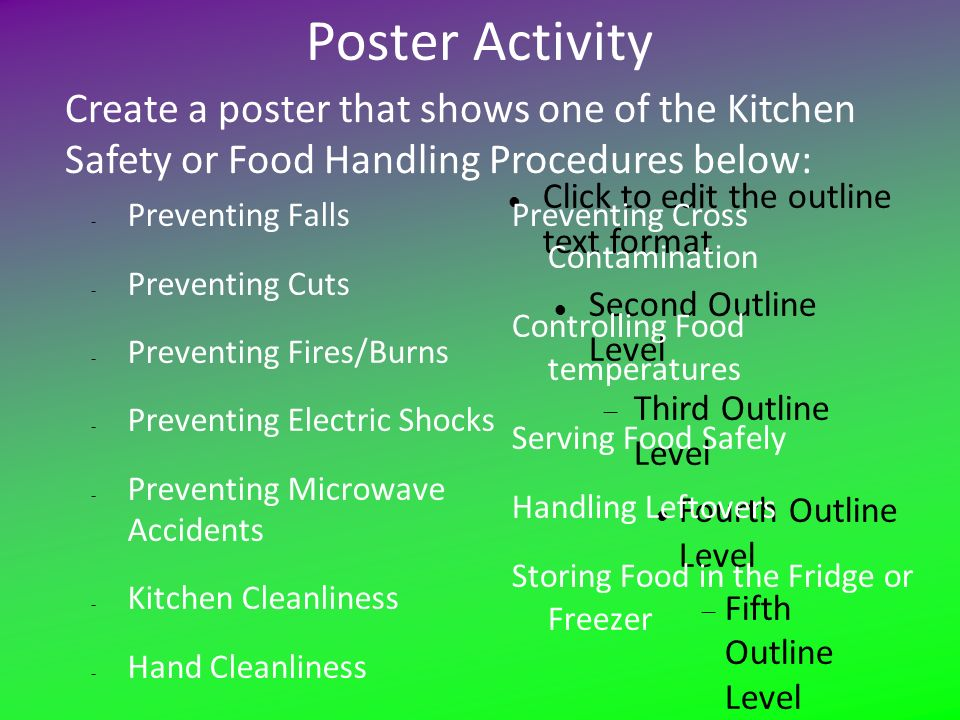 poster activity create a poster that shows one of the kitchen safety or food handling procedures. Interior Design Ideas. Home Design Ideas