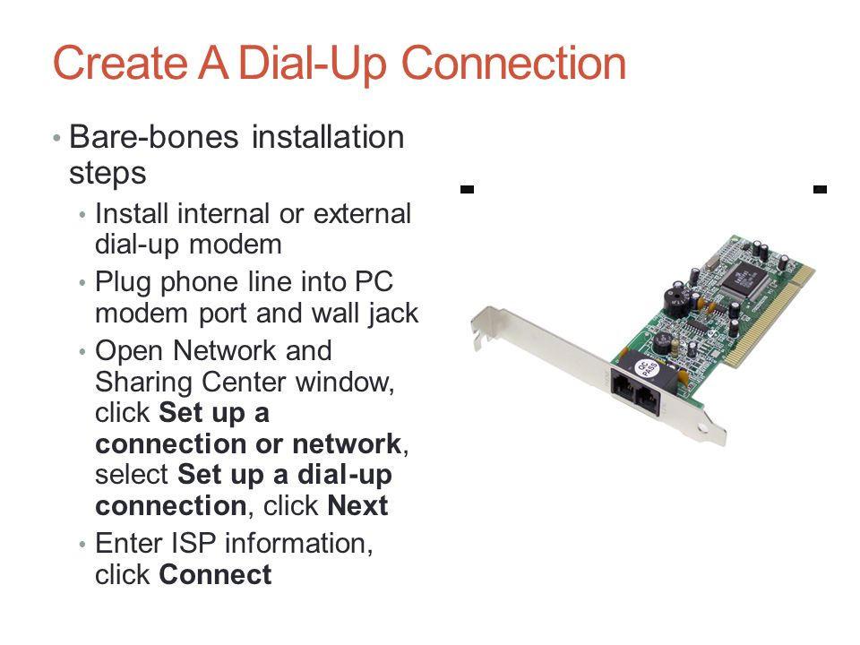 Connecting to and setting up a network ppt download create a dial up connection sciox Gallery