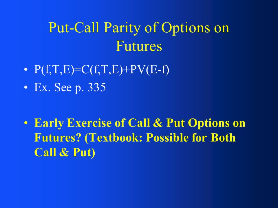 Put call parity forex options