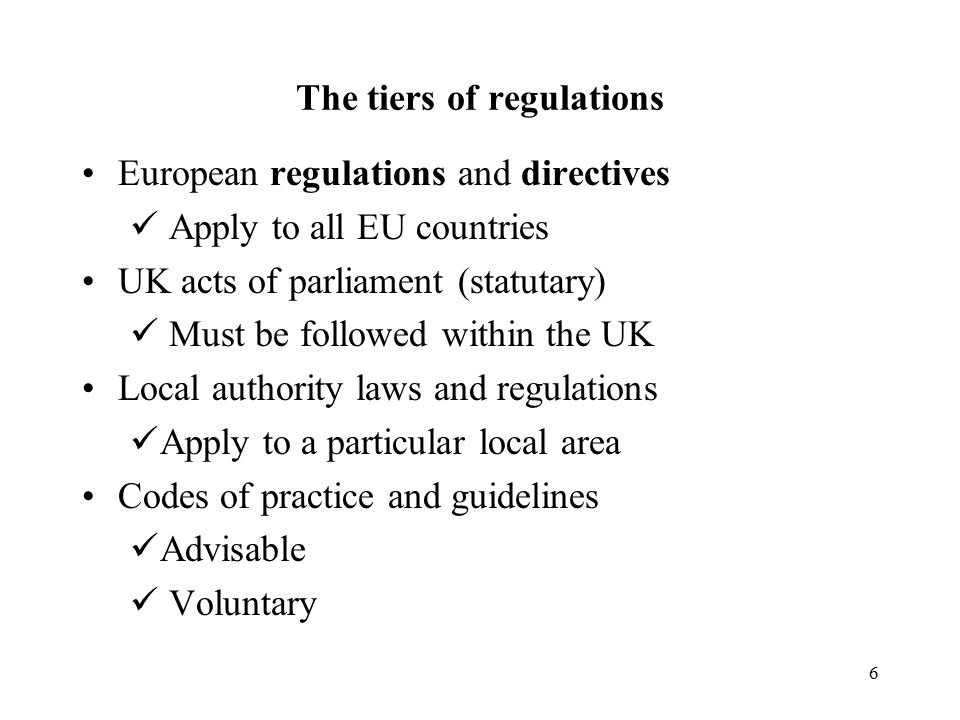 The tiers of regulations