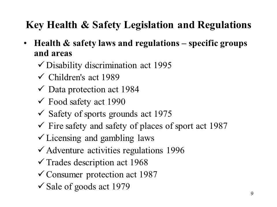 the key legislation and regulation which
