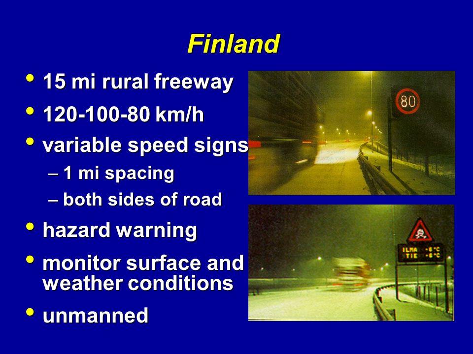 Finland 15 mi rural freeway 120-100-80 km/h variable speed signs