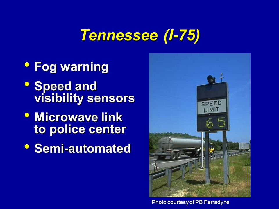 Tennessee (I-75) Fog warning Speed and visibility sensors