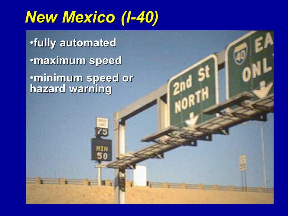 New Mexico (I-40) fully automated maximum speed