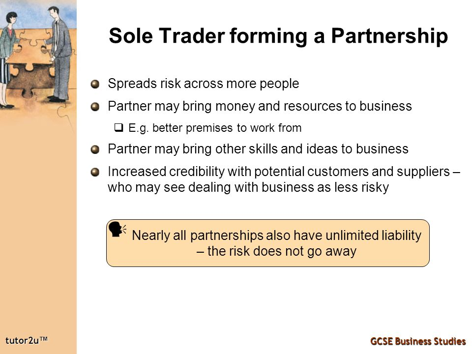 sole trader and partnership business For new businesses, the three most popular business structures are sole trader, partnership and company the structure identifies your operation as a trading business knowing the differences between these structures and choosing what's best for your business can put you in the most favorable tax and legal position.
