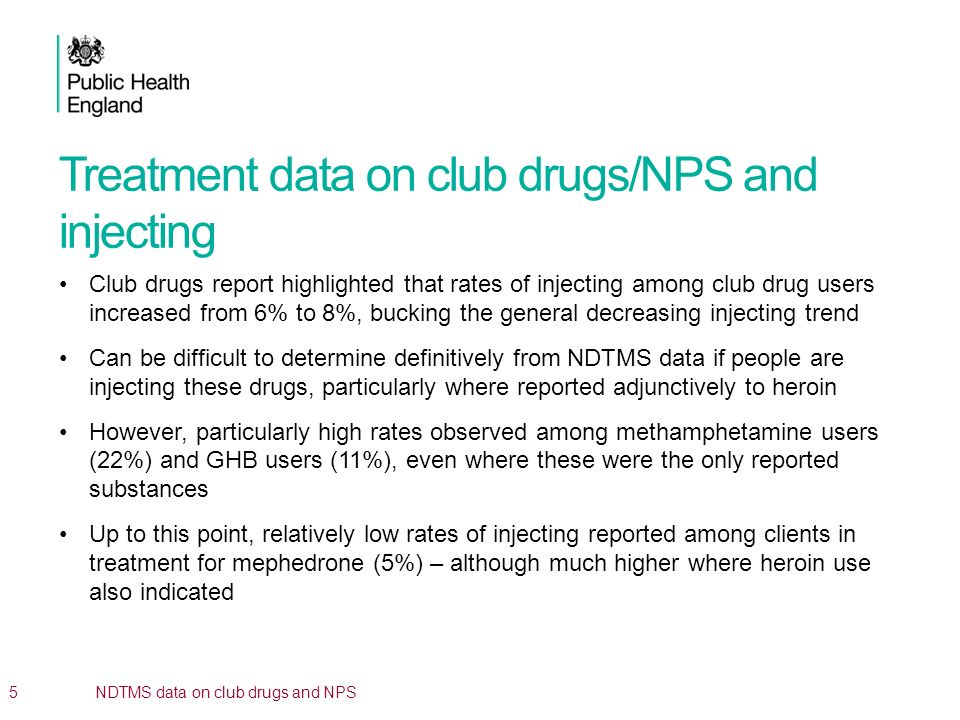 Treatment data on club drugs/NPS and injecting